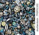 cartoon cute doodles space... | Shutterstock .eps vector #793951102