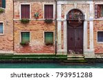 facade of partially mossy old...   Shutterstock . vector #793951288