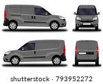 realistic cargo van. front view ...   Shutterstock .eps vector #793952272