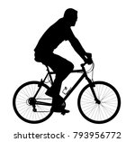 a male bicyclist riding a... | Shutterstock .eps vector #793956772