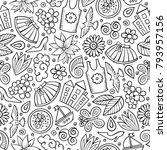 cartoon cute hand drawn spring... | Shutterstock .eps vector #793957156