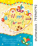 purim carnival poster ... | Shutterstock .eps vector #793969792