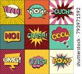 set of comic speech bubbles....   Shutterstock .eps vector #793971592