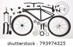 top view still life of bicycle... | Shutterstock . vector #793974325