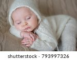 beatiful baby boy in white... | Shutterstock . vector #793997326