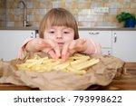 cute little baby girl enjoying... | Shutterstock . vector #793998622