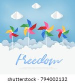 paper art  design with cloud... | Shutterstock .eps vector #794002132