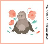 cute sloth in pink flowers. can ...   Shutterstock .eps vector #794003752