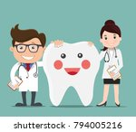 doctor with happy healthy teeth ...   Shutterstock .eps vector #794005216