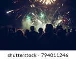 crowd watching fireworks | Shutterstock . vector #794011246