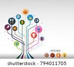 kitchen flat icon concept.... | Shutterstock .eps vector #794011705