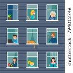 neighborhood. building front... | Shutterstock .eps vector #794012746