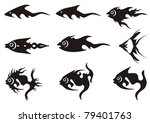 black fish icons. black on the... | Shutterstock .eps vector #79401763