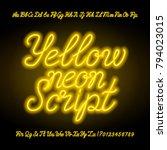 yellow neon script alphabet... | Shutterstock .eps vector #794023015