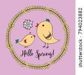 spring doodle brunch wreath... | Shutterstock .eps vector #794023882