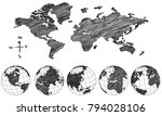 world map globe vector line... | Shutterstock .eps vector #794028106