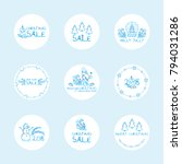 vector set of cute round labels ... | Shutterstock .eps vector #794031286