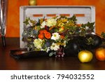still life with boots  apples... | Shutterstock . vector #794032552