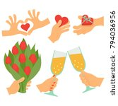 valentines day set with arms | Shutterstock .eps vector #794036956