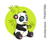 cute baby panda bear in bamboo...   Shutterstock .eps vector #794037082