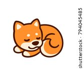 cute cartoon shiba inu puppy... | Shutterstock .eps vector #794045485