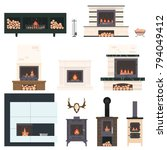 set of fireplaces and... | Shutterstock .eps vector #794049412