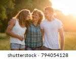 cheerful happy caucasian family ...   Shutterstock . vector #794054128