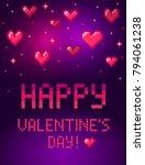 pixel art valentines day poster ... | Shutterstock .eps vector #794061238