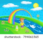 pixel scene with a boy who... | Shutterstock .eps vector #794061565