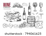 wine set. vector hand drawn... | Shutterstock .eps vector #794061625