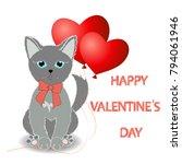 cute kitten wishes happy... | Shutterstock .eps vector #794061946