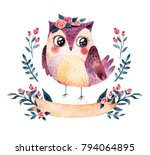 Stock photo watercolor owl with plants and ribbon 794064895