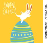 happy easter card template with ... | Shutterstock .eps vector #794065786