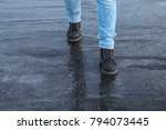 a male carefully walking on the ... | Shutterstock . vector #794073445