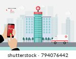 hospital building with... | Shutterstock .eps vector #794076442