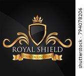 luxury golden vector shields... | Shutterstock .eps vector #794078206