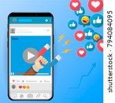 digital advertising ads social... | Shutterstock .eps vector #794084095