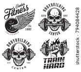 set of bodybuilding emblems...   Shutterstock .eps vector #794084428
