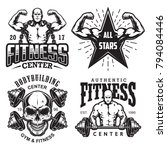 set of bodybuilding emblems... | Shutterstock .eps vector #794084446