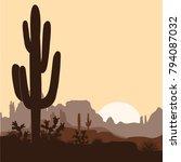 Morning Landscape With Saguaro...