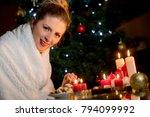 family awaiting christmass ... | Shutterstock . vector #794099992