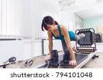 woman exercising on pilates... | Shutterstock . vector #794101048