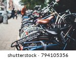closeup shot of parked bicycles ... | Shutterstock . vector #794105356