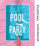 summer pool party invitation or ... | Shutterstock .eps vector #794106916