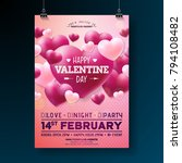 vector valentines day party... | Shutterstock .eps vector #794108482
