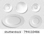 set of ceramic  porcelain... | Shutterstock .eps vector #794110486