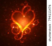 Burning Heart With Sparkles O...