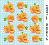 peach retro dotted pattern... | Shutterstock .eps vector #794118385