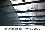 people walking on white glossy...   Shutterstock . vector #794121532
