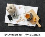 overhead shot of miscellaneous... | Shutterstock . vector #794123836
